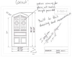 Custom Arched Door Line Drawing