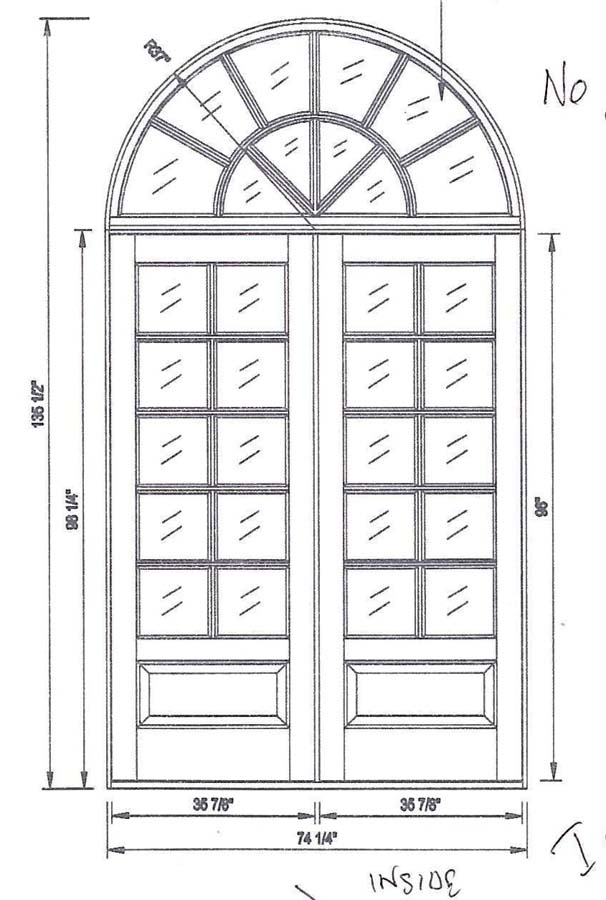 custom double door half round transom
