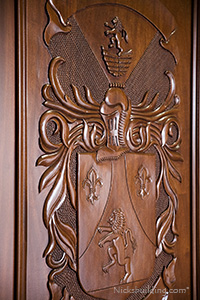 African Mahogany Carved Exterior Door with Family Crest