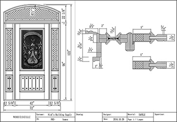 custom carved door with family crest line drawing