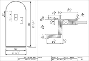 Custom Round Top Replacement Door Line Drawing