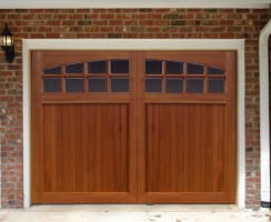 Wood overhead garage doors