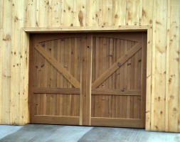 knotty cedar garage doors before and after transformation - Barn Style Garage Doors